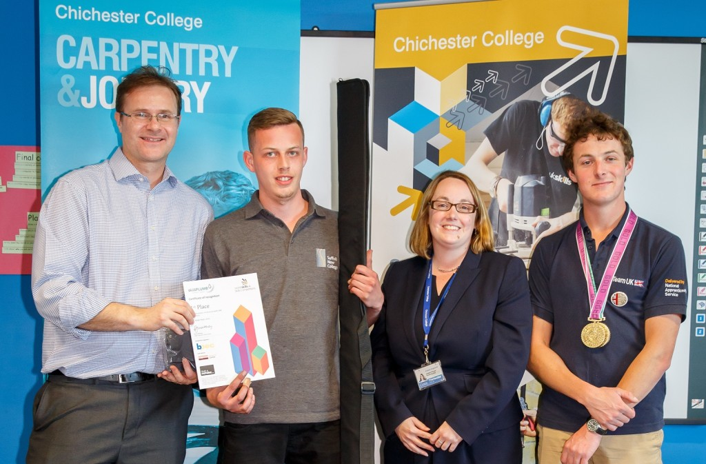 L-R Neil Collishaw of BPEC, Owen Boswell, Vicky Illingworth (Vice Principal – Chichester College) and George Callow (former student of Chichester College & WS Gold medallist for furniture)