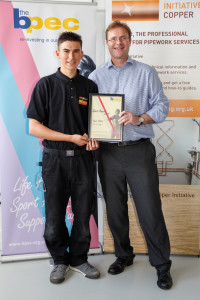 Ryan Holden with BPEC Charity Manager Neil Collishaw